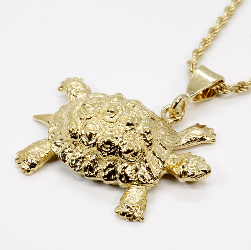 Gold Turtle Necklace with Giant Size 14kt Gold Vermeil Land Turtle or Tortoise