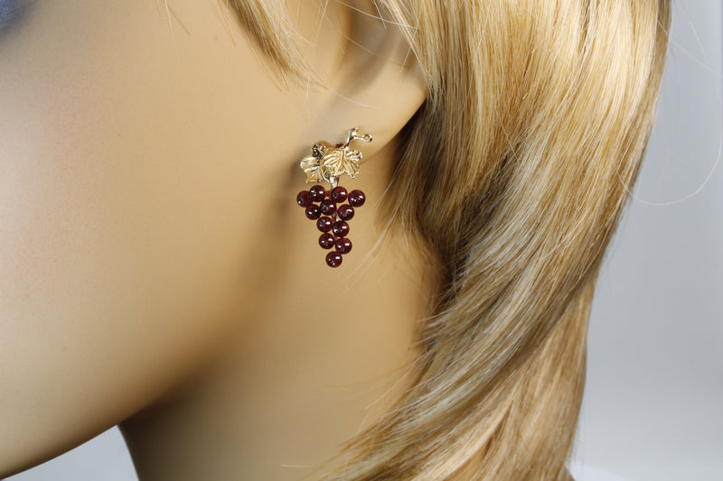 Garnet Grape Cluster Earrings with two grape leaves in 14kt Gold Vermeil