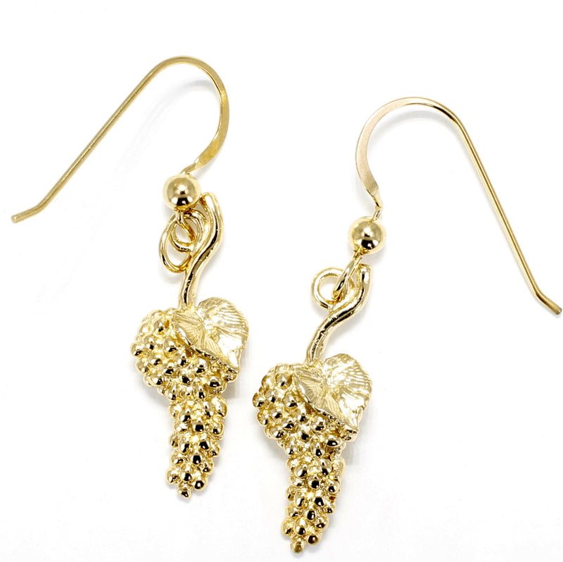 Gold Grape Cluster Earrings in 14kt Gold Vermeil Dangling on Gold French wires