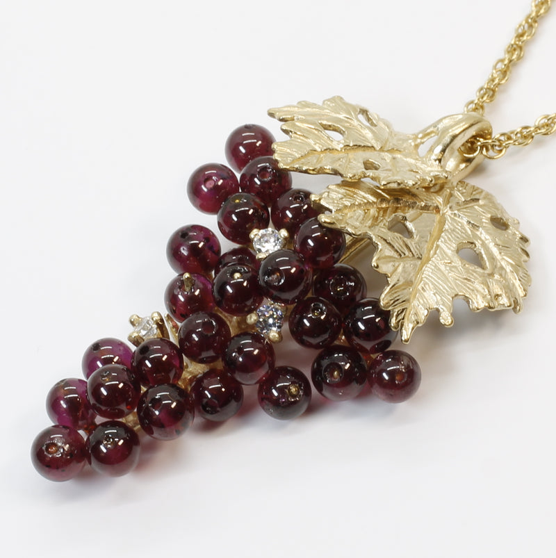 Larger Garnet Grape Cluster Necklace with Cubic Zirconia and 14kt. Gold Vermeil Leaves