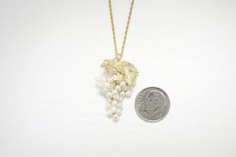 Pearl Grape Necklace with Cubic Zirconia Stones and 14kt. Gold Vermeil Leaves in Larger Size