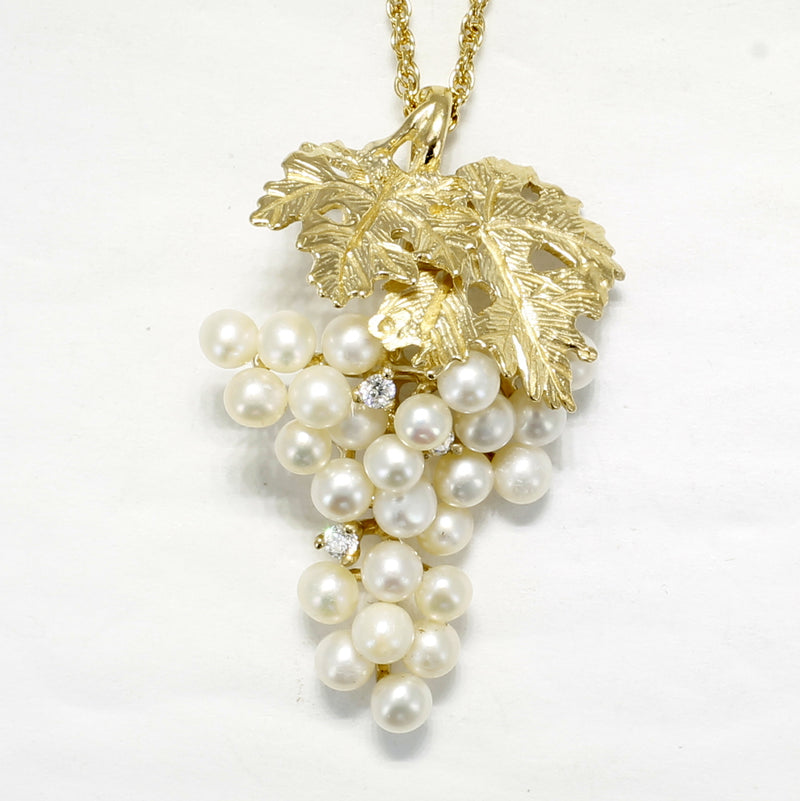 Pearl Grape Necklace with Cubic Zirconia Stones and 14kt. Gold Vermeil Leaves