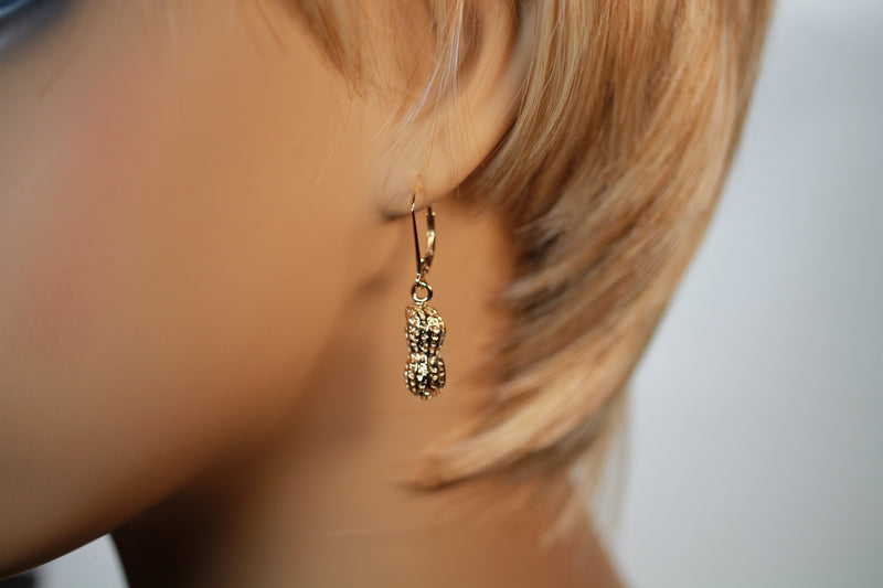 Gold Peanut Earrings,14kt Gold Vermeil Dangle Earrings in half shell design