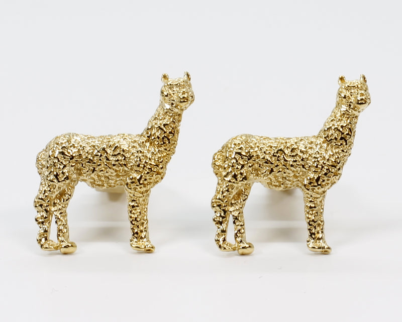 Gold Huacaya Alpaca Cuff Links for him with 14kt Gold Vermeil Huacaya Alpacas