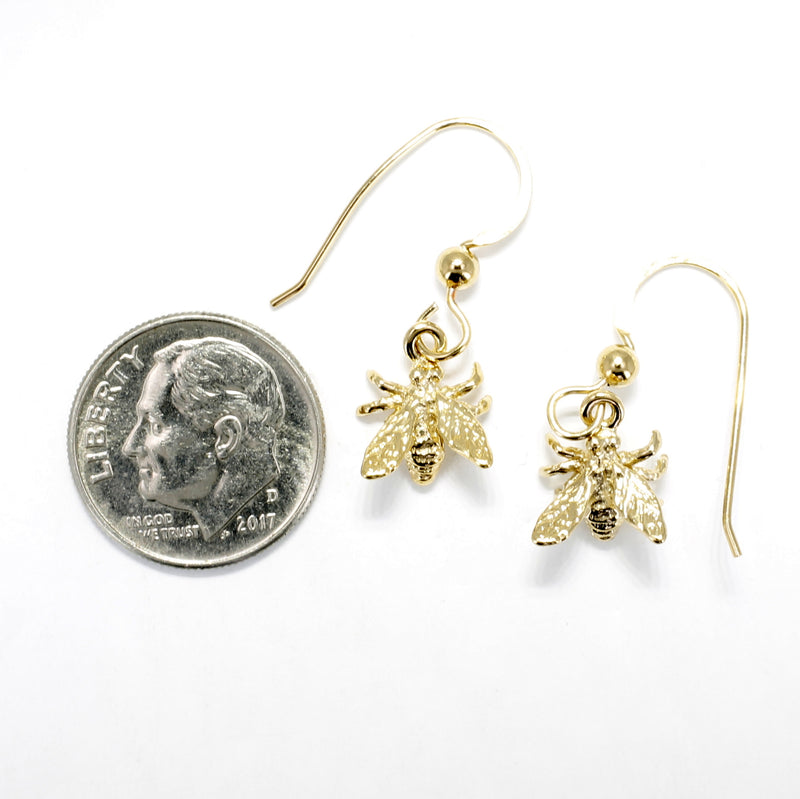 Gold Honey Bee Earrings in 14kt Gold Vermeil for Beekeeper Gift