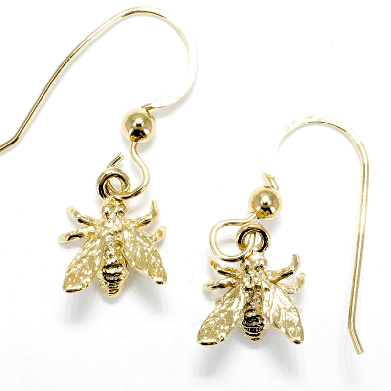 Gold Honey Bee Earrings