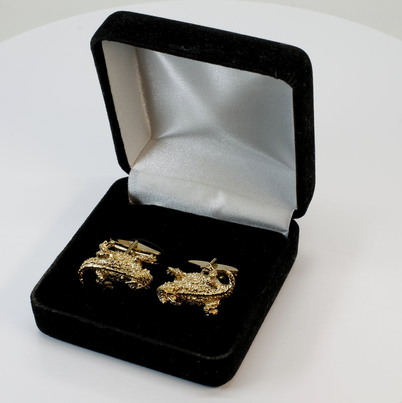 Horn Frog Horned Toad Cuff Links for Men In 14kt Gold Vermeil Horny Toads