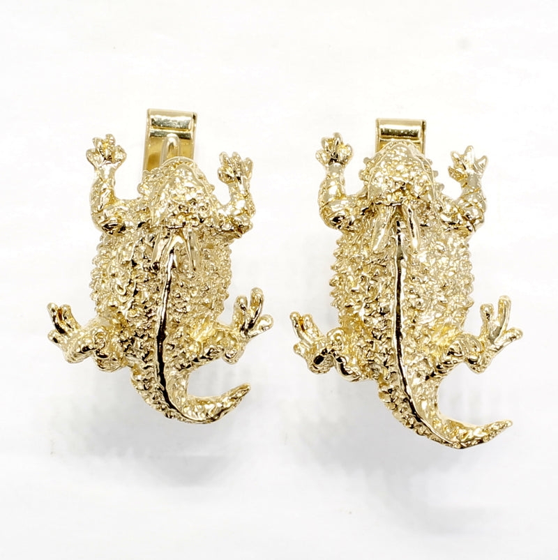 Horned Toad Lizard Cuff Links for Men In 14kt Gold Vermeil Horny Toads