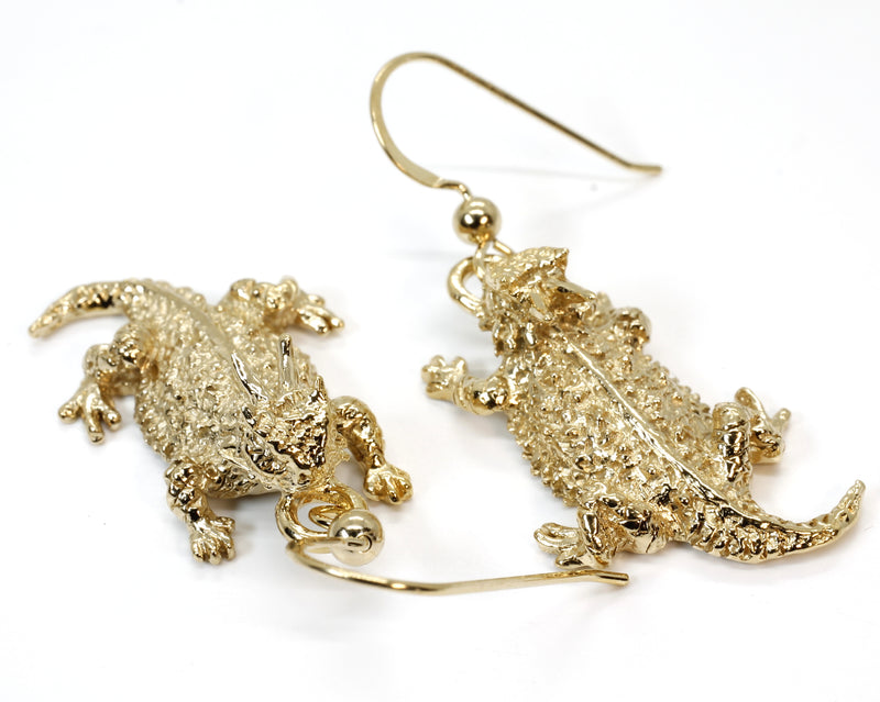 Gold Horny Toad Dangle Earrings in 14kt Gold Vermel Horned Toads