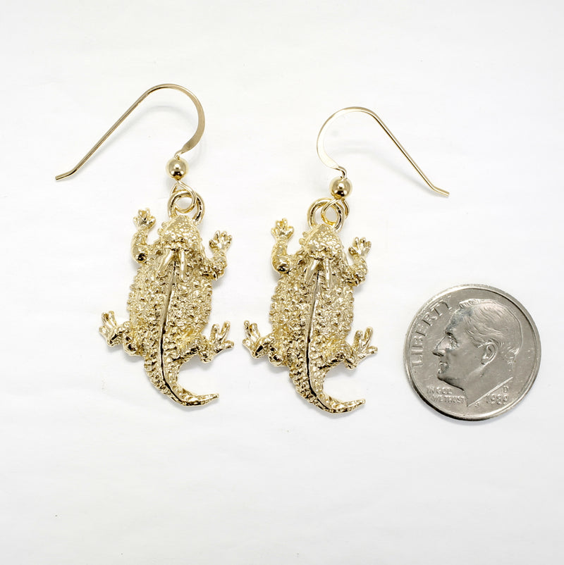 Gold Horny Toad Horn Frog Dangle Earrings in 14kt Gold Vermel Horned Toads
