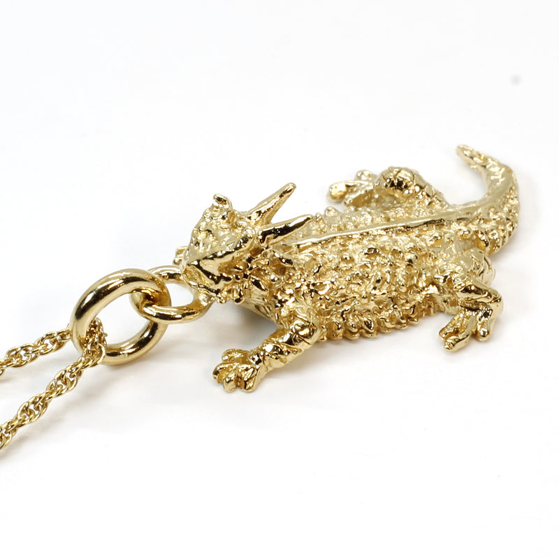 Gold Horny Toad Necklace with 14kt Gold Vermeil Horned Toad Lizard