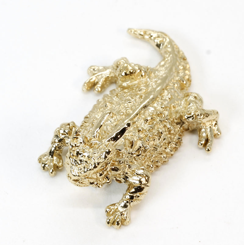 Gold Horny Toad Tie Tack or Pin in 14kt Gold Vermeil Horned Toad Frog Lizard
