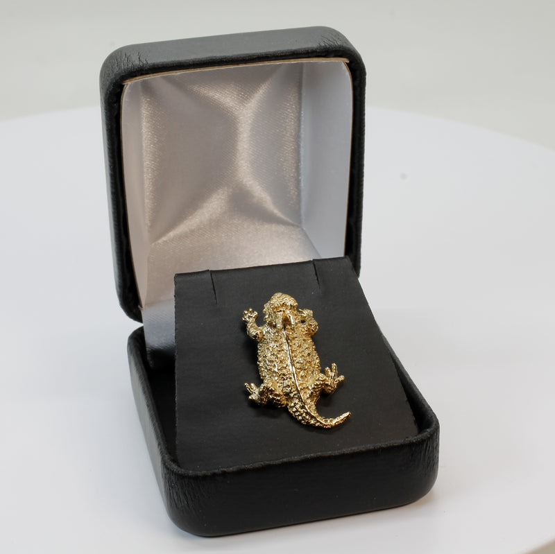 Gold Horn Frog Horny Toad Tie Tack or Pin in 14kt Gold Vermeil Horned Toad Frog