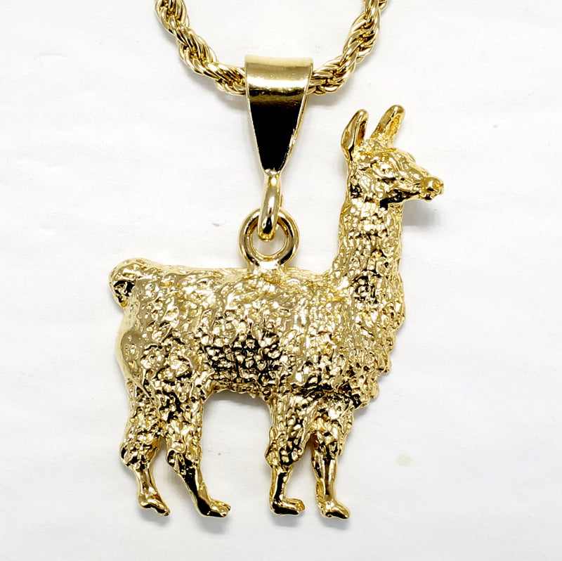 Gold Llama Necklace for man or woman, Giant Size 14kt Gold Vermeil Llama Necklace