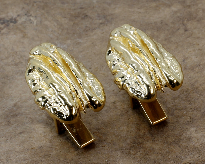 Gold Pecan Cuff Links with Large Realistic Pecans in 14kt Gold Vermeil