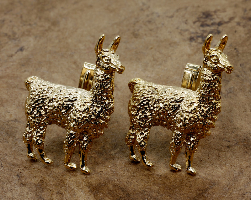 Extra Large Gold Suri Alpaca Cuff Links in 14kt Gold Vermeil gift for men