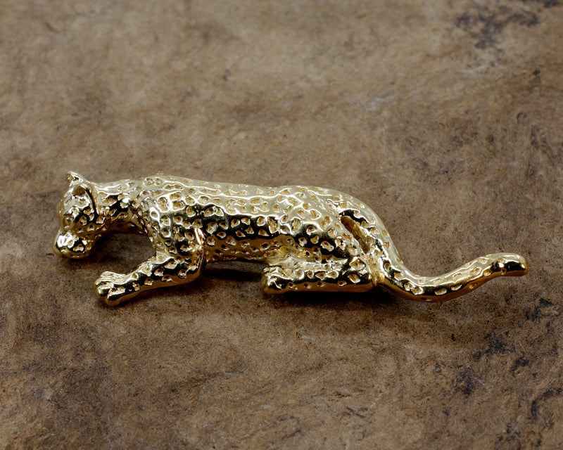 Gold Leopard Brooch in 14kt Yellow  Gold Vermeil in Very Large Size Leopard