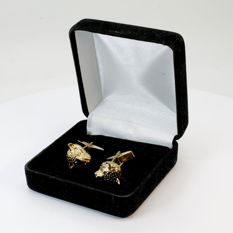 Gold Leopard Cuff Links for Him with Medium Size Leopard Head