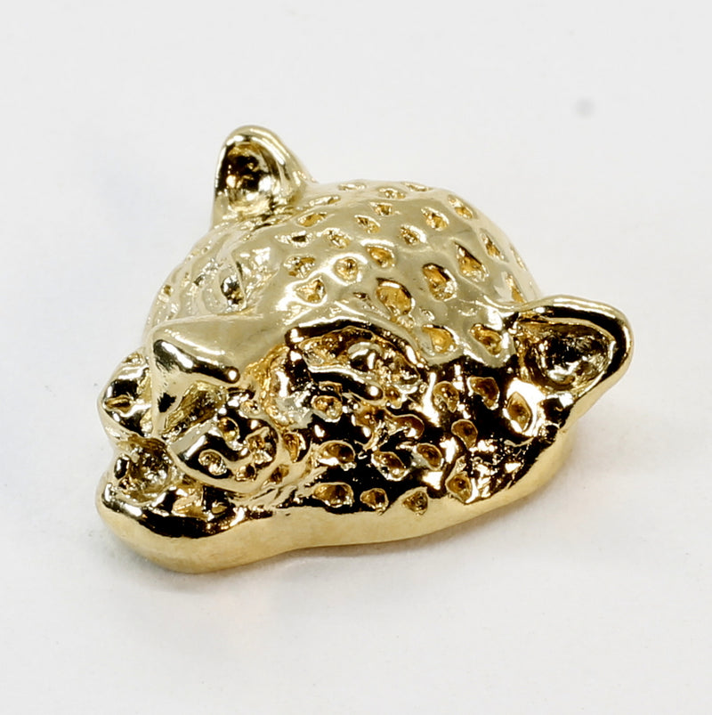 Gold Leopard Tie Tack for Him with Medium Size Leopard Head in 14kt Gold Vermeil