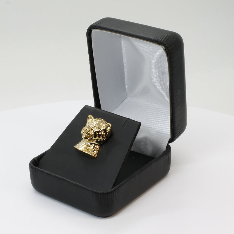 Large Leopard Head Tie Tack / Lapel Pin in 14kt Gold Vermeil Gift For Men