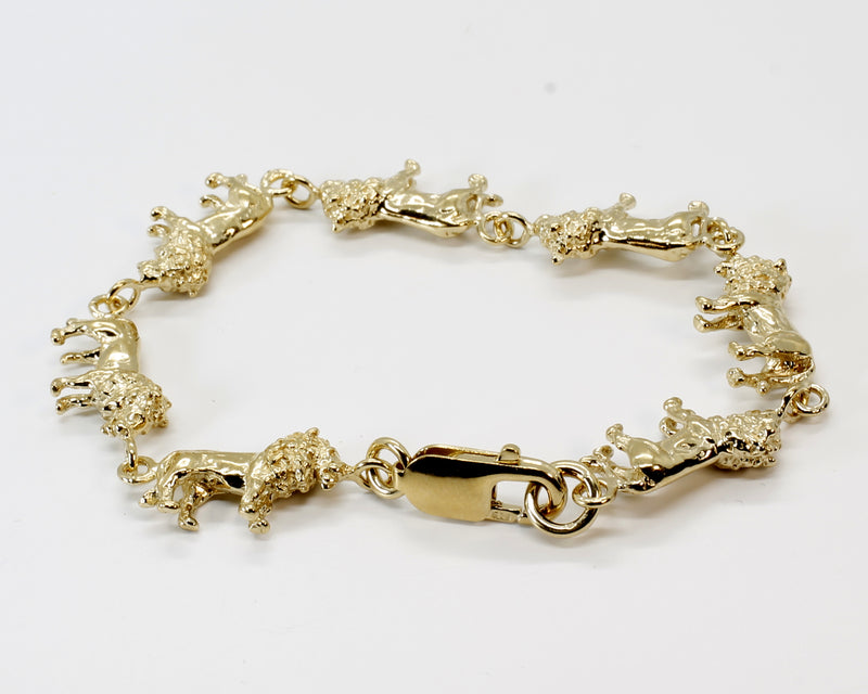 Full Body Lion Link Bracelet in 14kt Gold Vermeil With 7 Lions