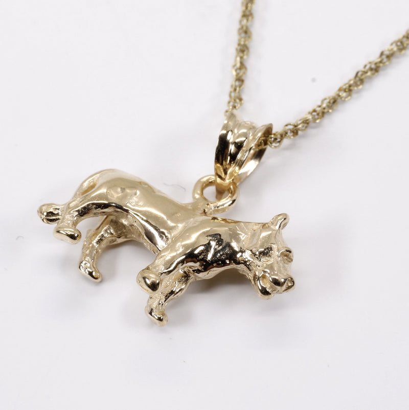 Gold Lioness Necklace for her in Solid 14kt Gold