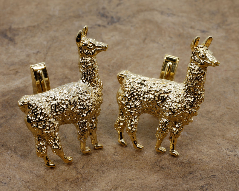 Gold Llama Cuff Links for him with Extra Large Size 14kt Gold Vermeil Llamas