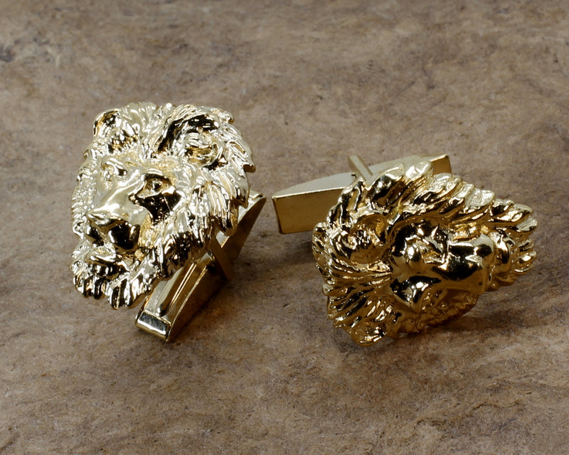 Gold Lion Cuff Links for Him with Large 14kt Gold Vermeil Lion Heads for mens suit