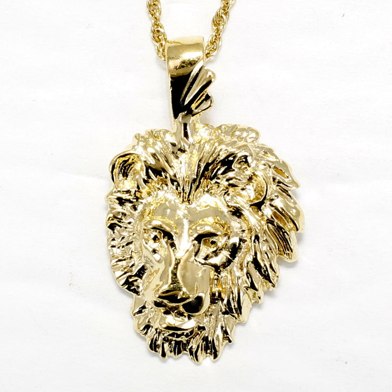 "Gold Lion Head Necklace on 18"" Chain in 14kt Gold Vermeil"