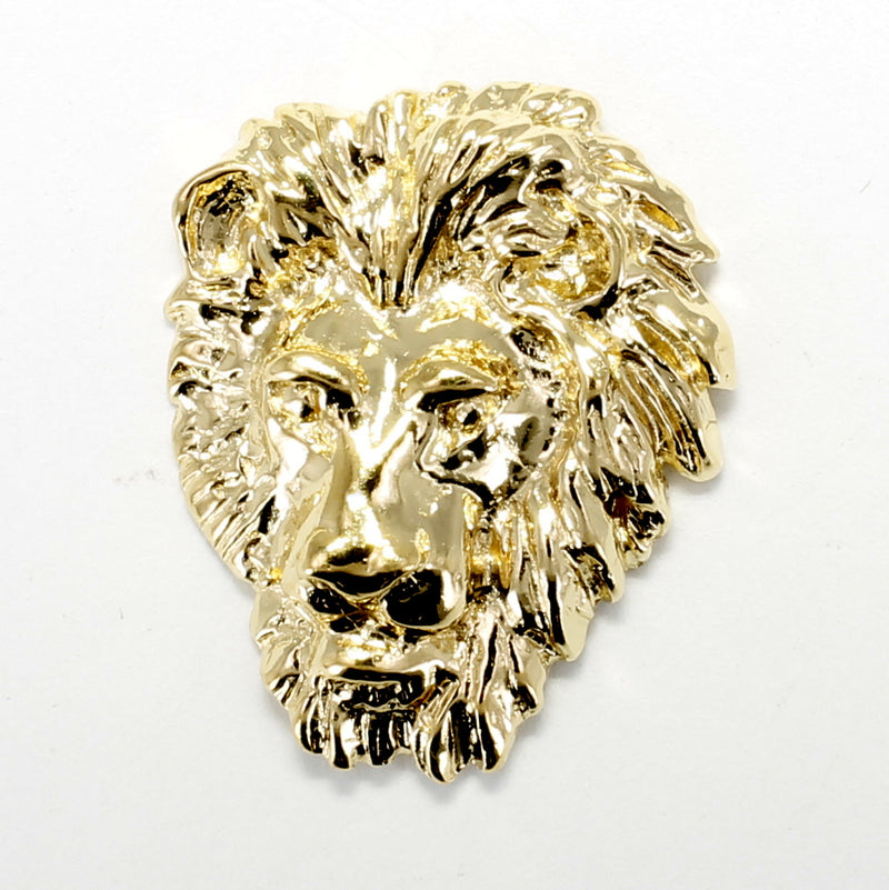 Gold Male Lion Head Tie Tack / Lapel Pin in 14kt Gold Vermeil