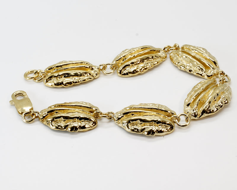 Gold Pecan Bracelet with Six Realistic Large Pecans in 14kt Gold Vermeil