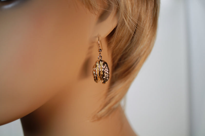 Gold Pecan Earrings Dangling on French Wires in 14kt Gold Vermeil