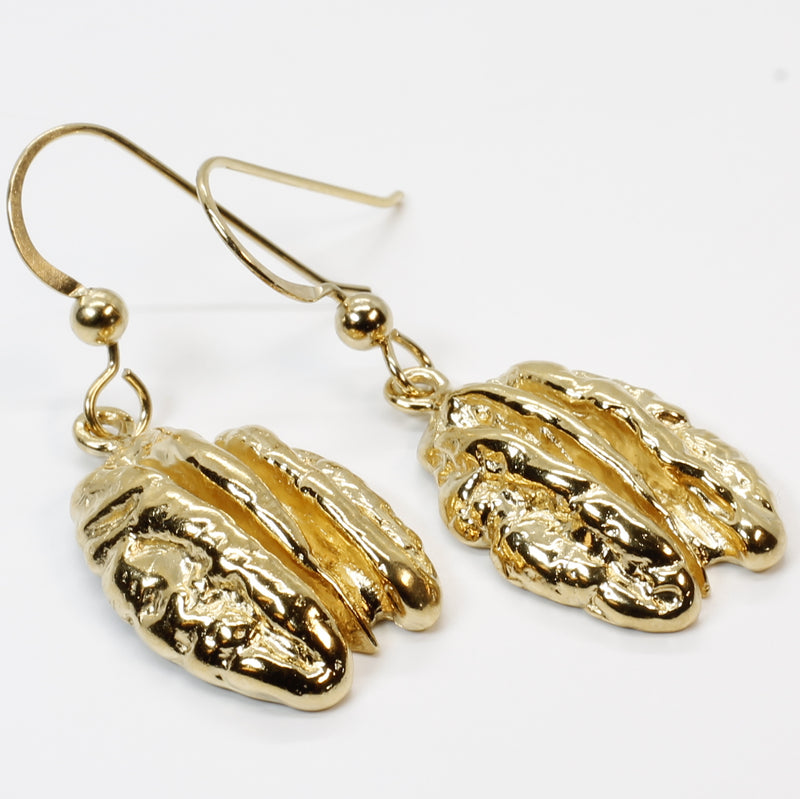 Gold Pecan Earrings Dangling on French Wires