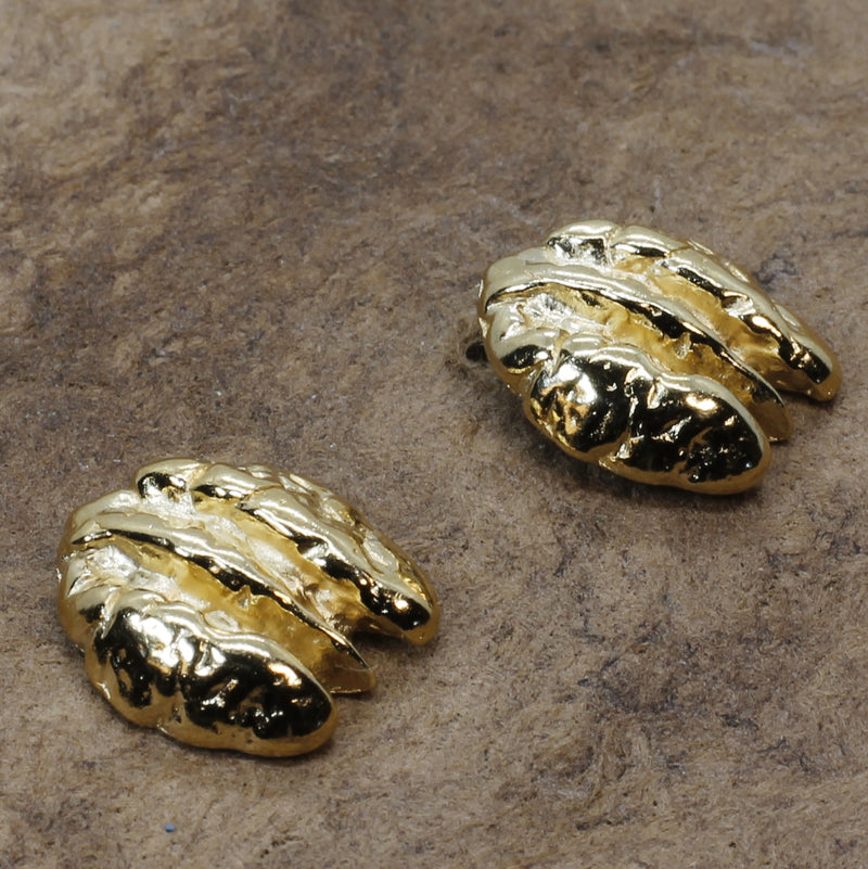 Small Gold Pecan Earrings made in 14kt Gold Vermeil