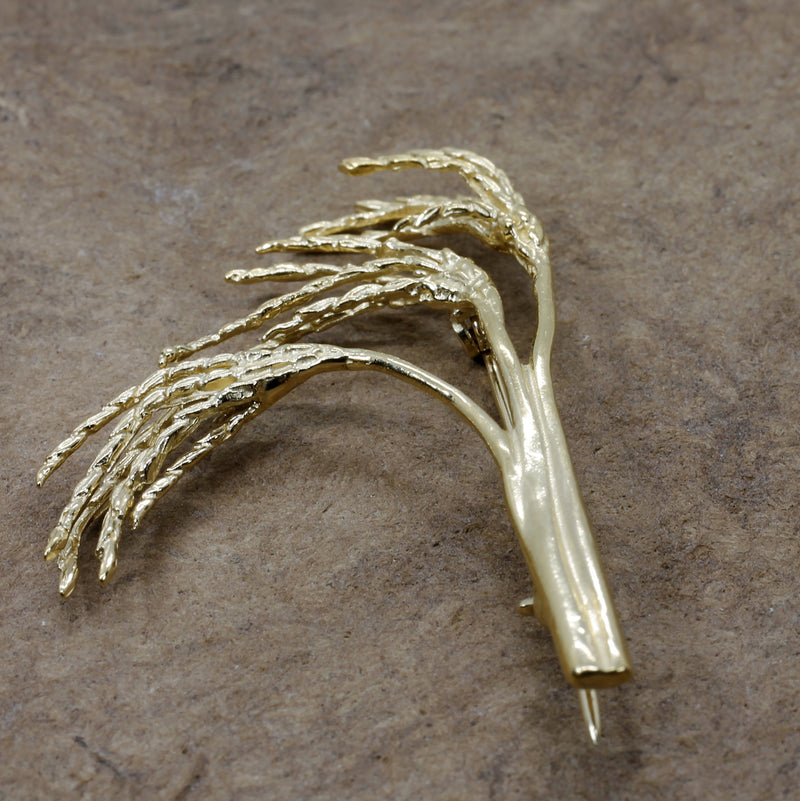 Gold Rice Stalk Brooch with Three Rice heads in 14kt Gold Vermeil for Rice Farmer
