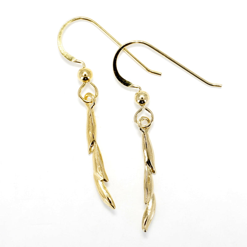 Gold Rice Earrings in 14kt Gold Vermeil