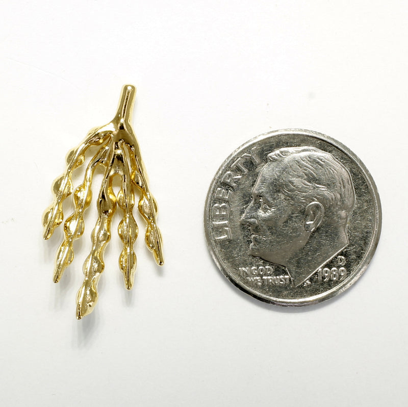 Soybean Jewelry for man with 14kt Yellow Gold Vermeil Soybean pod tie tack or lapel pin
