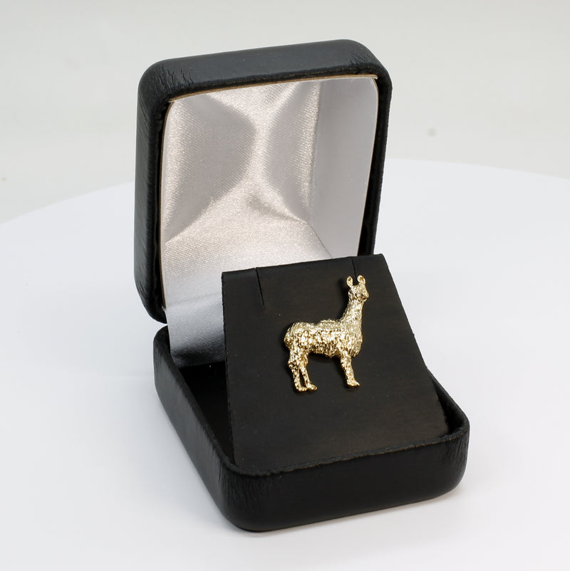 Gold Llama Tie Tack for men in 14kt Gold Vermeil with Llama lapel pin for man or woman
