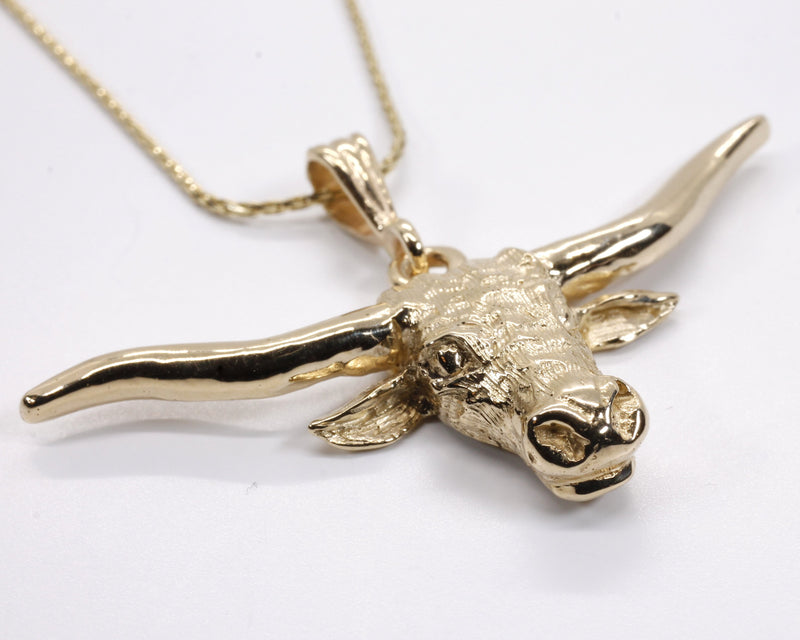 14kt Longhorn Head Necklace for her made in solid 14kt gold