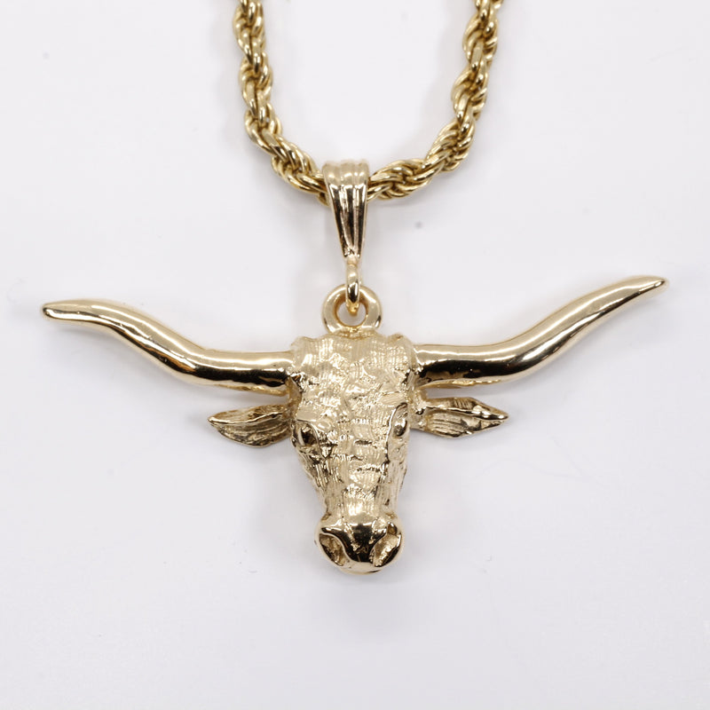 Gold Longhorn logo Necklace for him or her made in solid 14kt gold