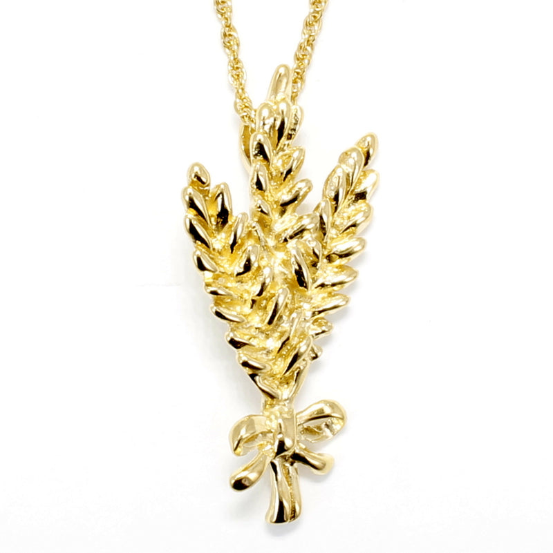 "Triple Wheat Head Necklace in 14kt gold vermeil with 18"" Chain"