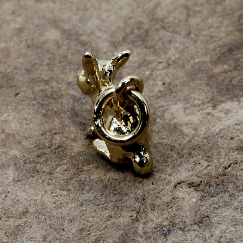 Gold Rabbit Charm with 14kt Gold Vermeil Little Bunny for her