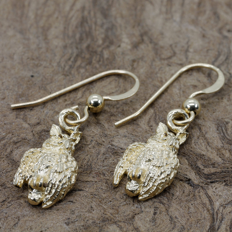 Gold Owl Dangle Earrings with tiny solid 14kt yellow gold owls facing sideways
