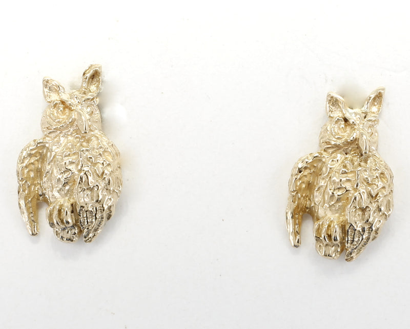 Gold Owl Earrings with tiny solid 14kt yellow gold owls facing sideways