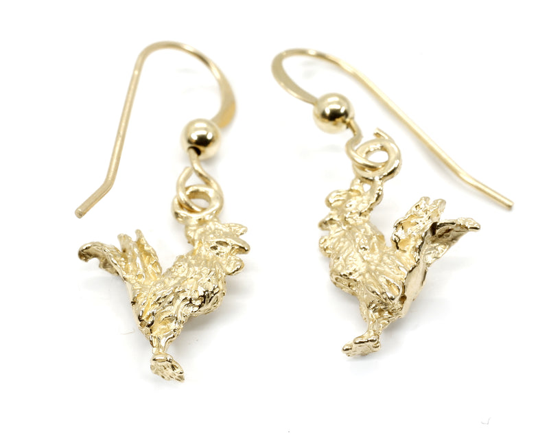 Gold Rooster Earrings with tiny solid 14kt yellow gold rooster chickens