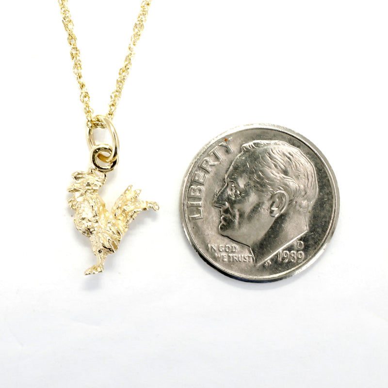 Gold Rooster Necklace for little girl with tiny solid 14kt yellow gold rooster chicken