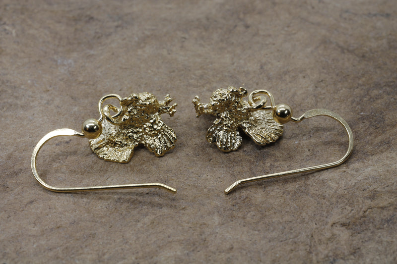 Gold Turkey Earrings with three dimensional 14kt gold vermeil Turkeys