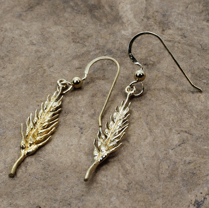 Gold Vermeil Wheat Head Dangle Earrings
