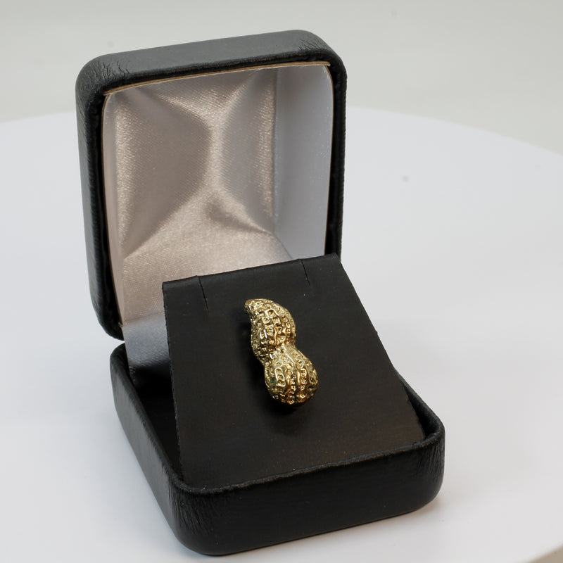 Gold Peanut Tie Tack with Large 14kt Gold Vermeil Whole Peanut