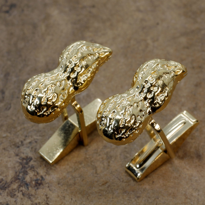 Gold Peanut Cuff Links for him with 14kt Gold Vermeil Whole Shell Peanuts